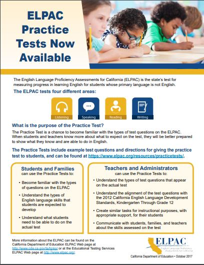 ELPAC Pactice Test Flyer
