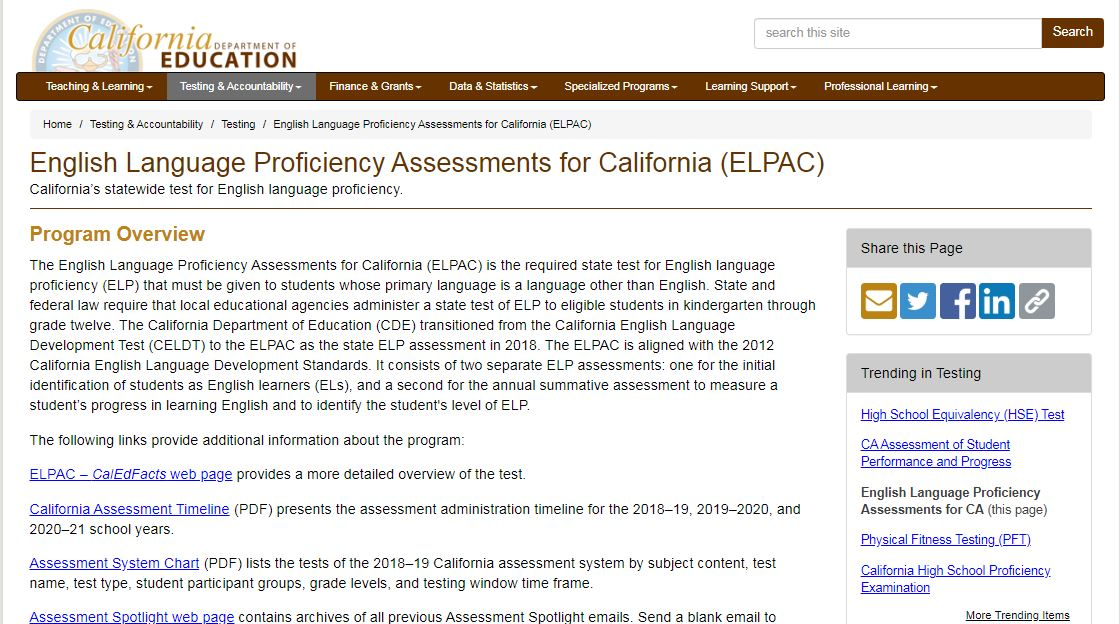 English Language Proficiency Assessments for California (ELPAC)