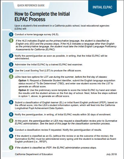 Quick Reference Guide:  How to Complete the Initial ELPAC Process