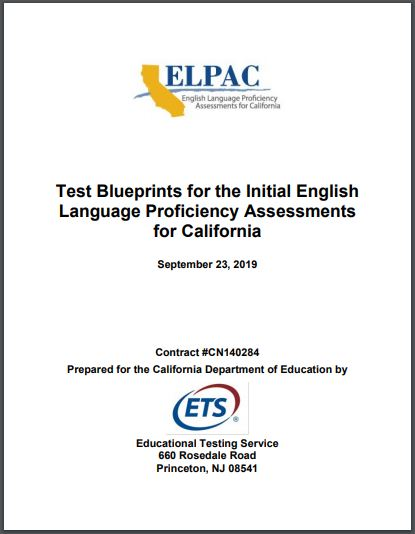 Initial ELPAC Technical Documents