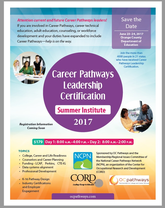 Career Pathways Leadership Certification-June 23-24, 2017