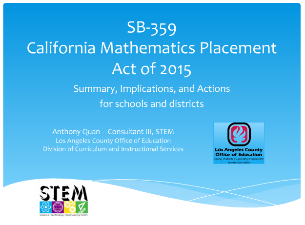 LA County Math Leaders Archived Webinar March 1, 2016