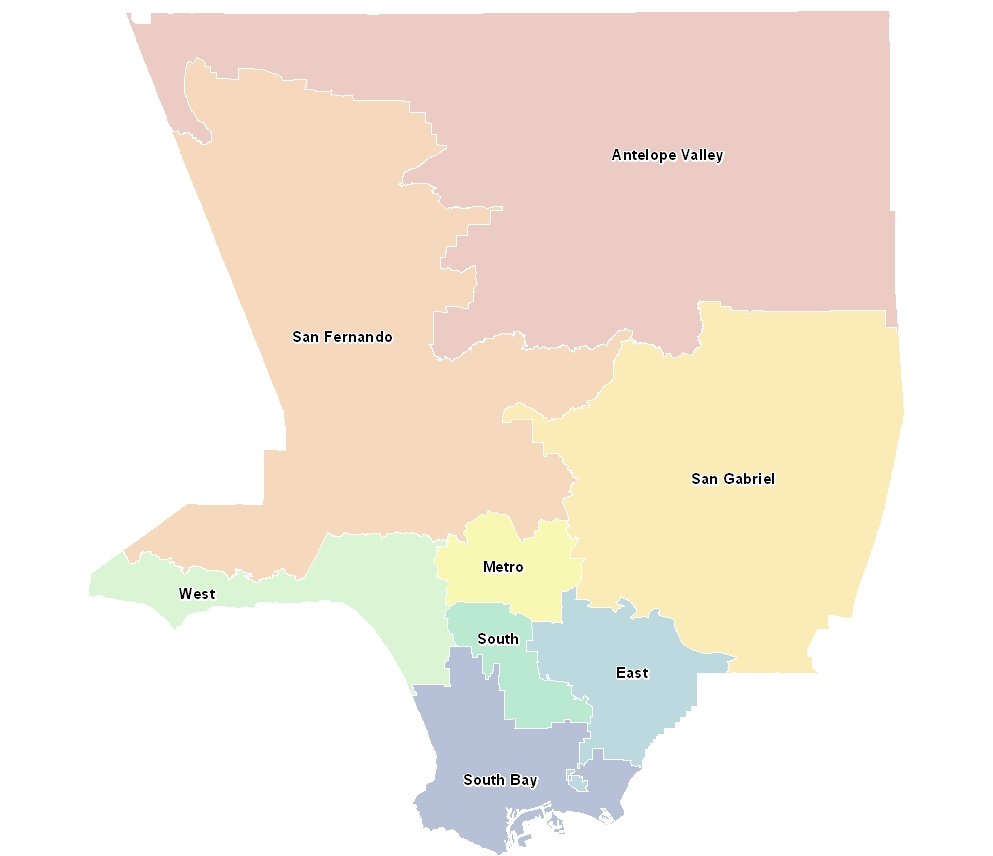 Los Angeles County School Districts by  Service Planning Area